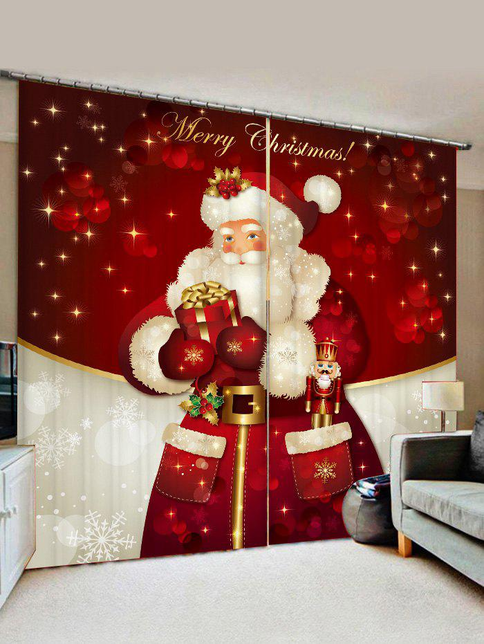 Father Christmas Gift Window Curtains - RED WINE W33.5 X L79 INCH X 2PCS
