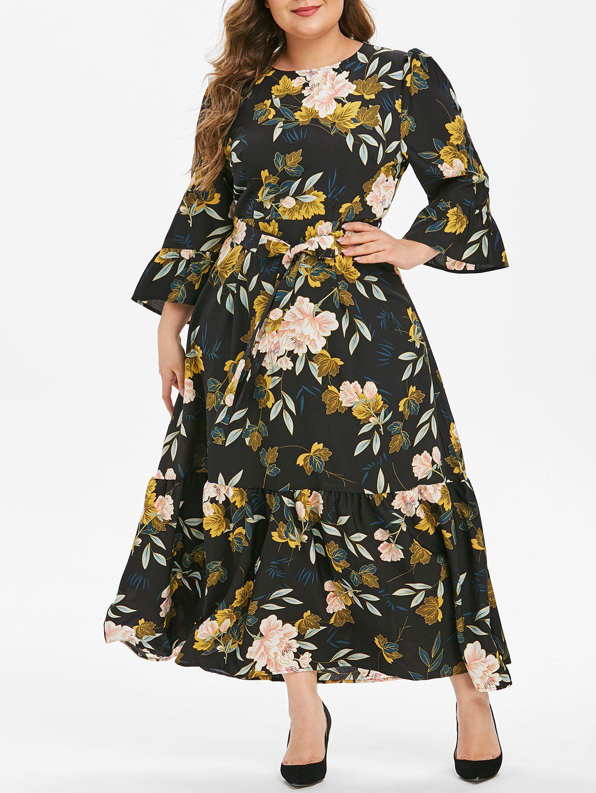 Plus Size Flower Print Flounce Long Belted Dress - BLACK 1X