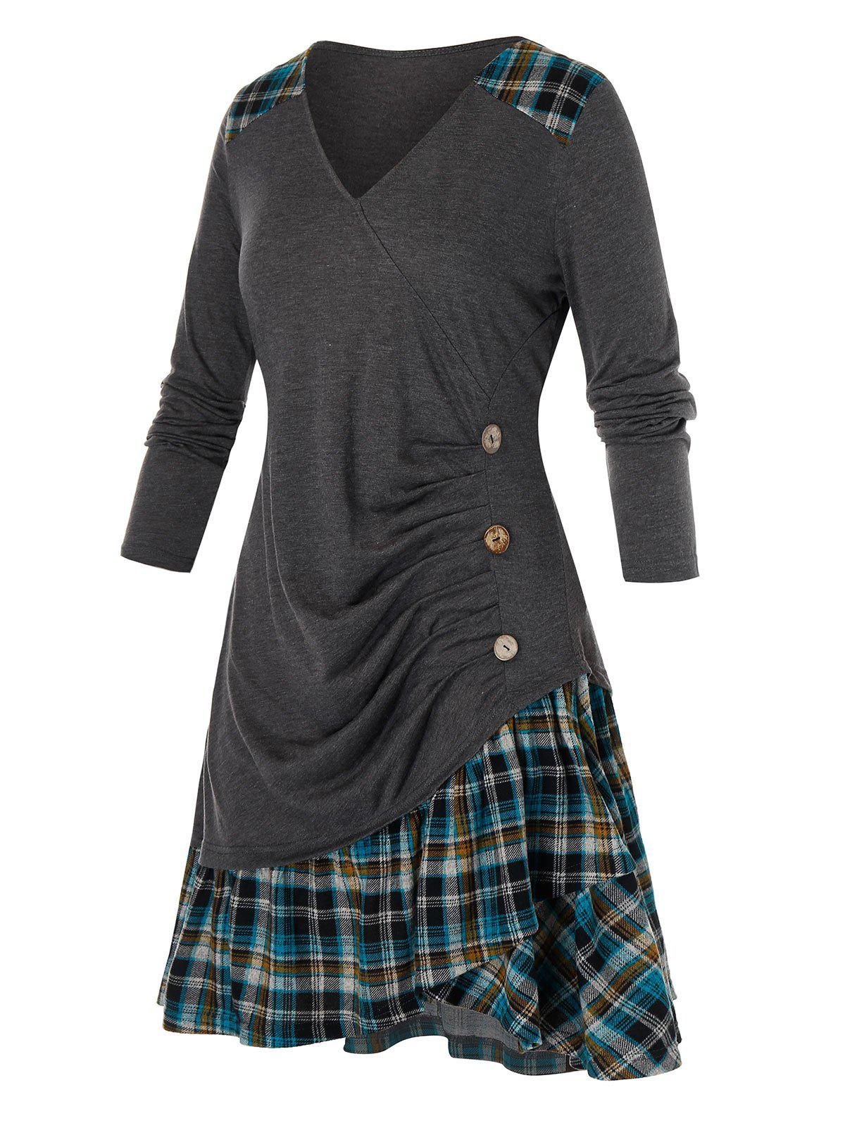 Plus Size Plaid Flounce Ruched Long Sleeve Tee - DARK GRAY 3X