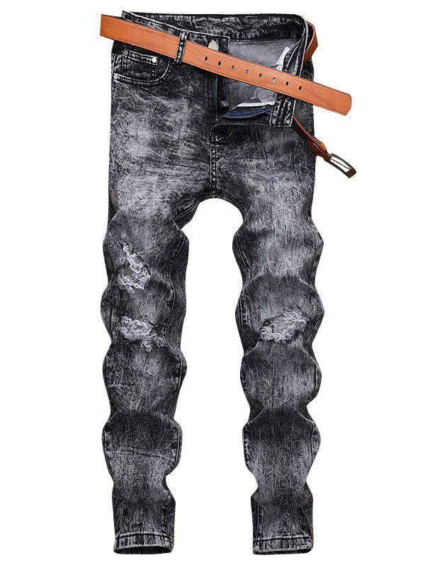 Destroyed Ripped Design Casual Jeans - CARBON GRAY 34