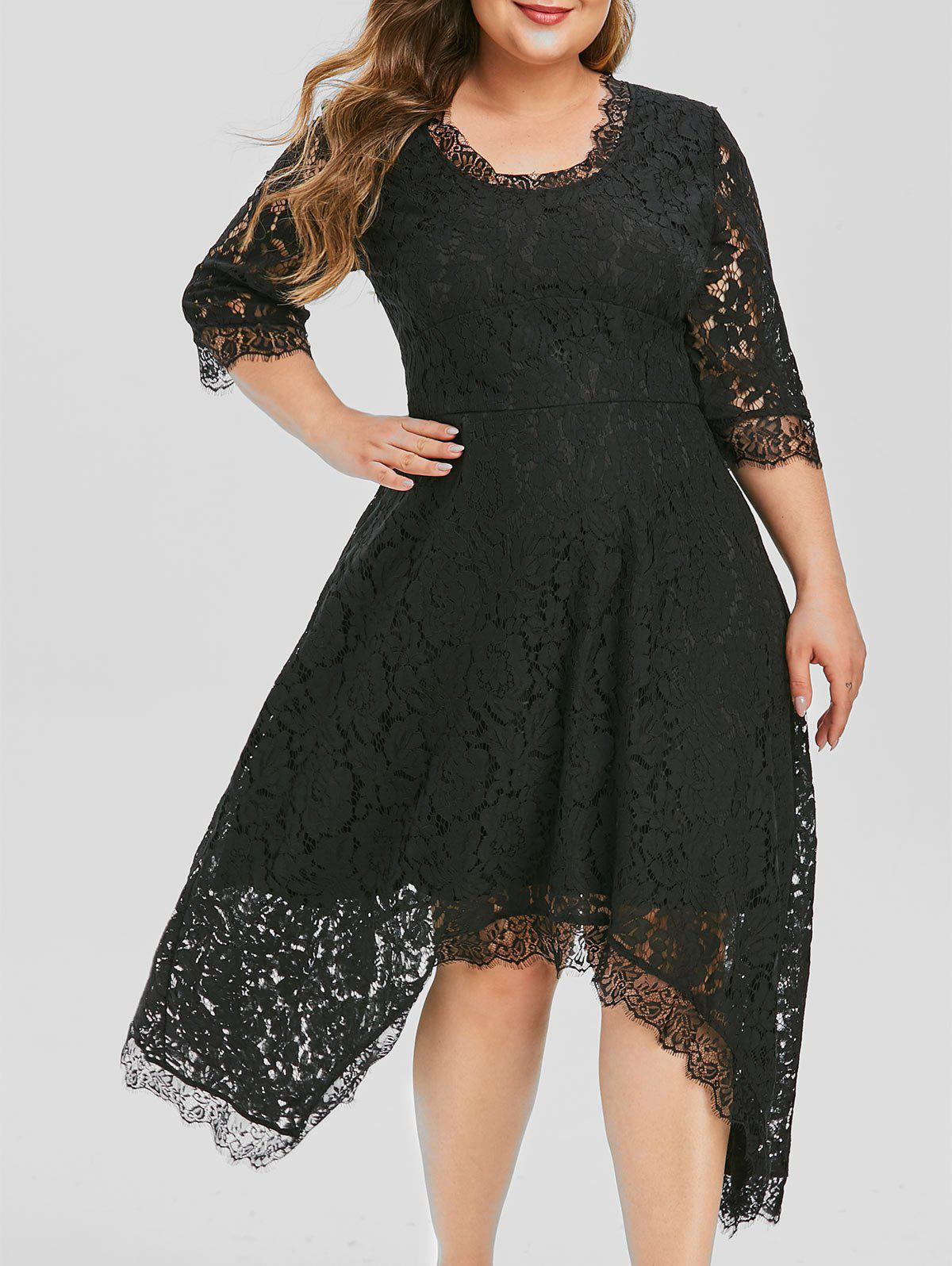 Plus Size Lace Handkerchief Party Dress - BLACK 3X