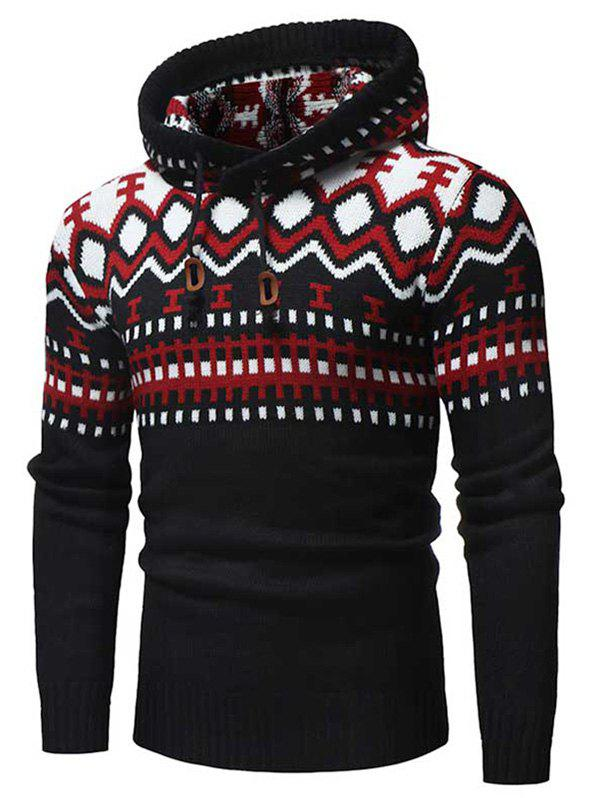Geometric Print Hooded Pullover Sweater - RED XS