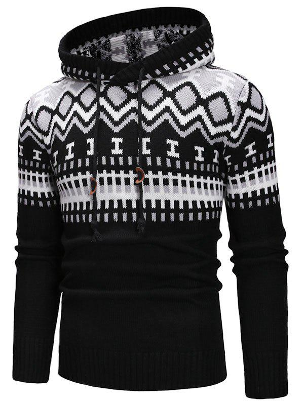 Geometric Print Hooded Pullover Sweater - WHITE S