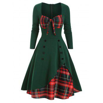 Plaid Button Embellished Overlap Bowknot Dress