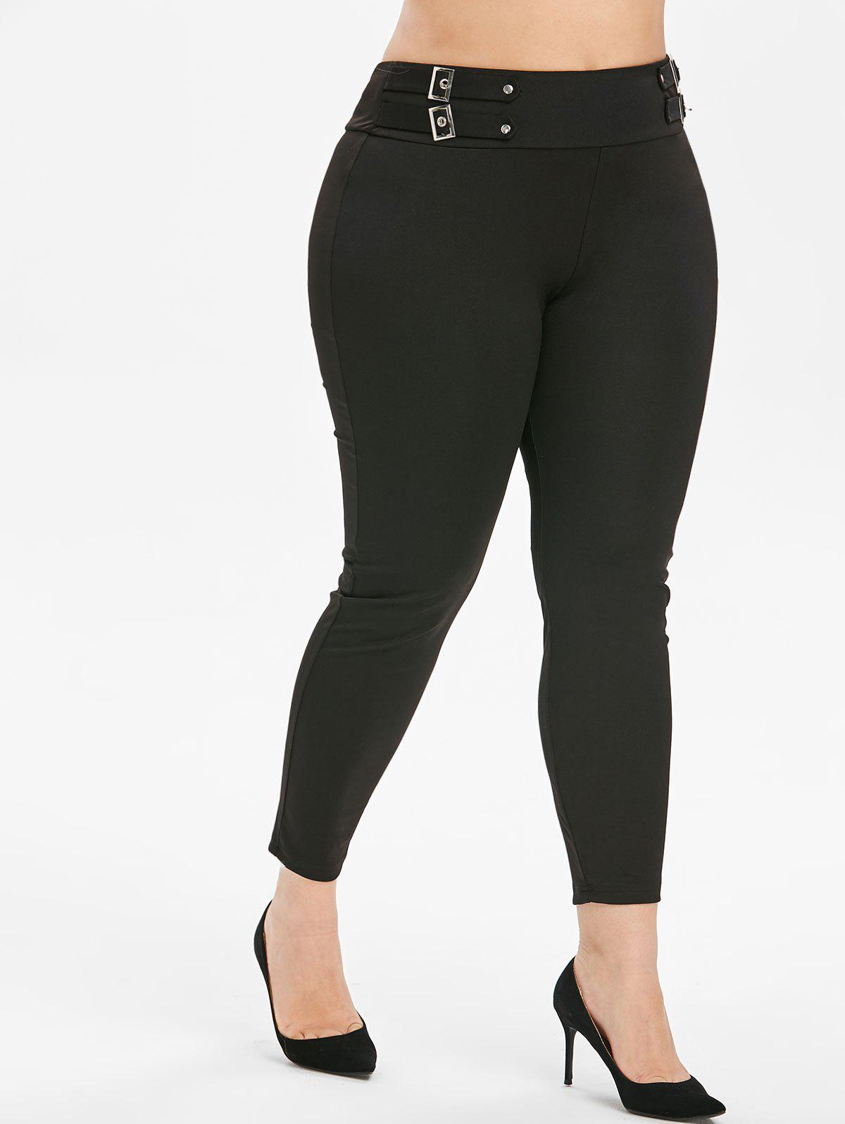 Plus Size High Rise Buckle Punk Leggings - BLACK 2X