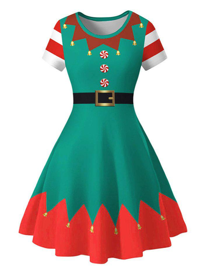 Christmas Bell Print Fit and Flare Plus Size Dress - GREEN 4X
