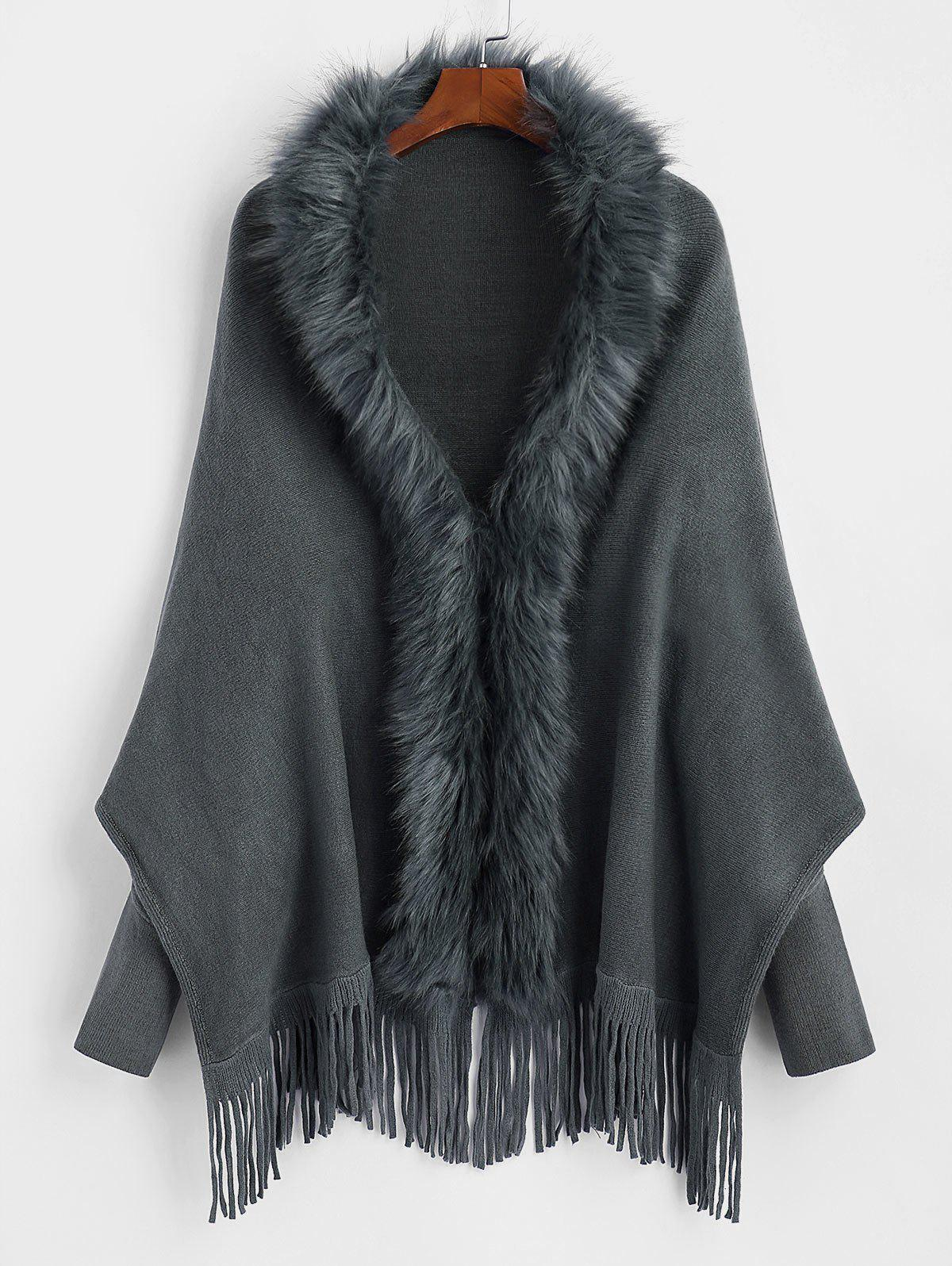 Plus Size Faux Fur Fringed Batwing Sleeve Cardigan - GRAY ONE SIZE