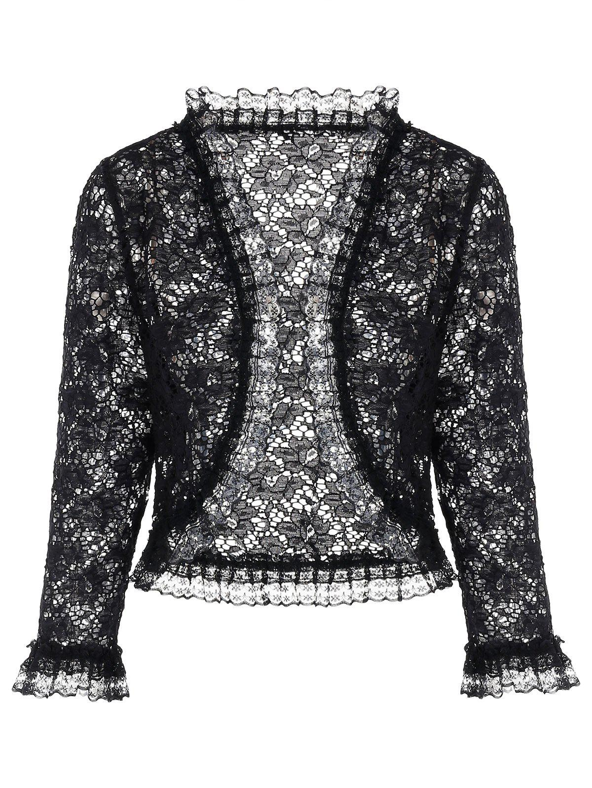 Plus Size Floral Lace Cape Coat - Noir L
