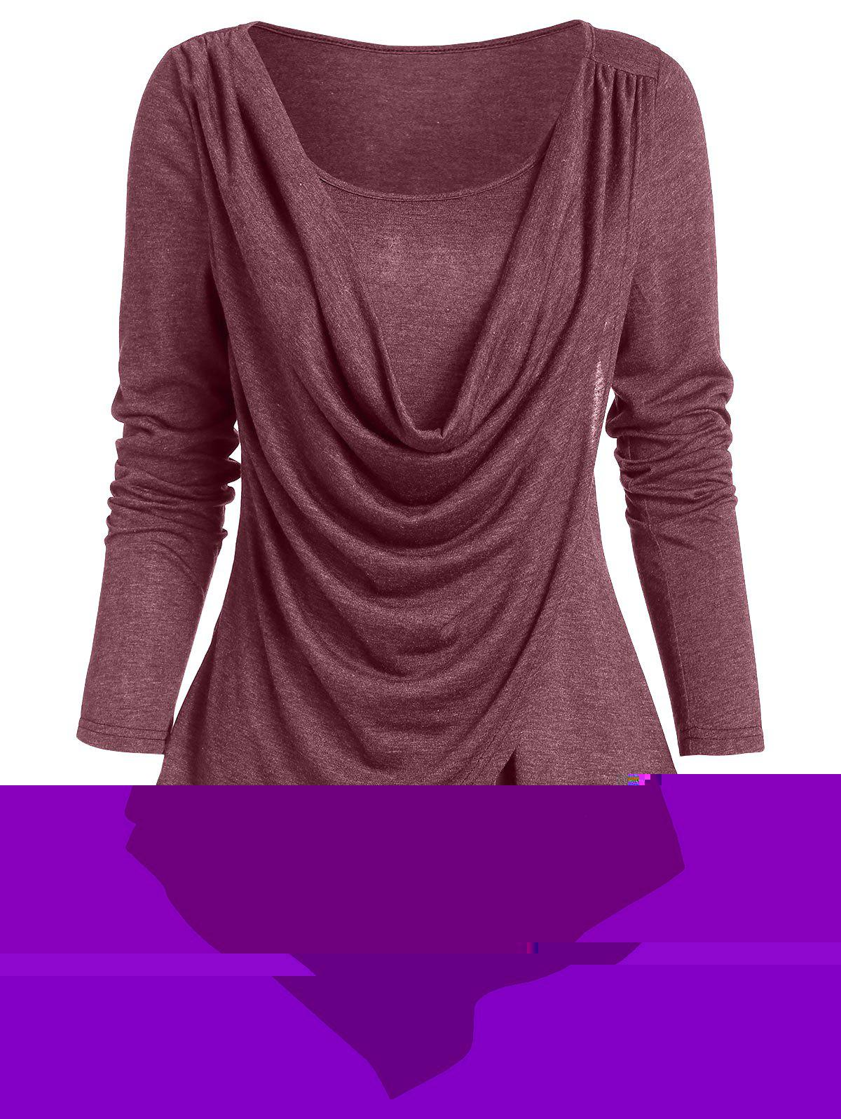 Pointed Hem Heathered Draped Overlap T-shirt - RED WINE L