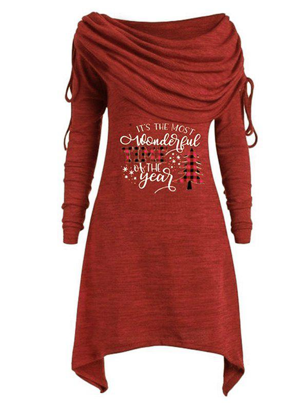 Plus Size Off The Shoulder Cinched Christmas Printed T Shirt - RED 5X
