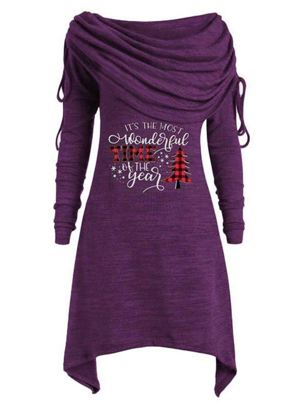 Plus Size Off The Shoulder Cinched Christmas Printed T Shirt - PURPLE IRIS 5X