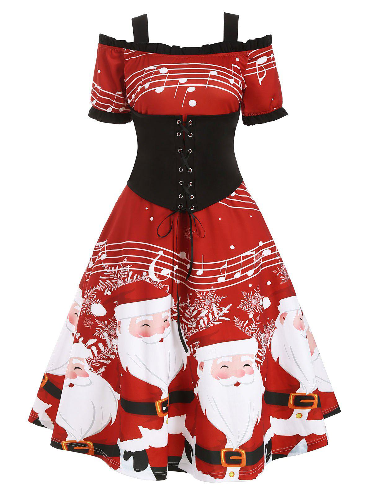 Christmas Santa Claus Musical Note Cold Shoulder Lace Up Dress - RED M