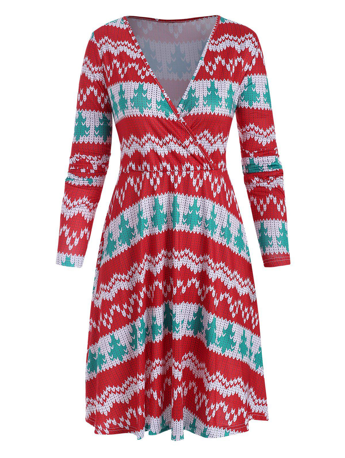 Christmas Long Sleeve Plunging Surplice Dress - RED XL