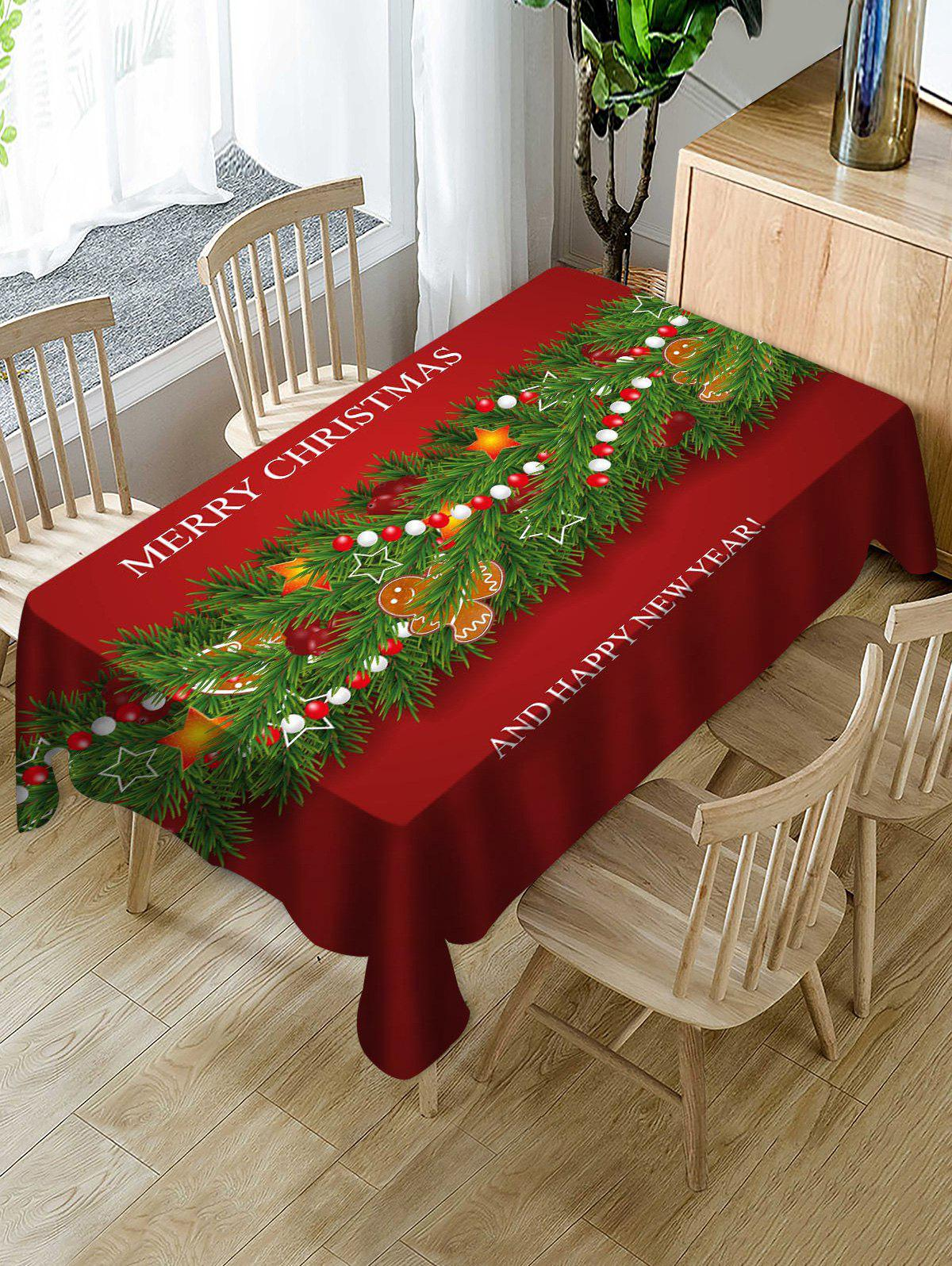 Merry Christmas Star Fabric Table Cloth - multicolor 55 X 71 INCH
