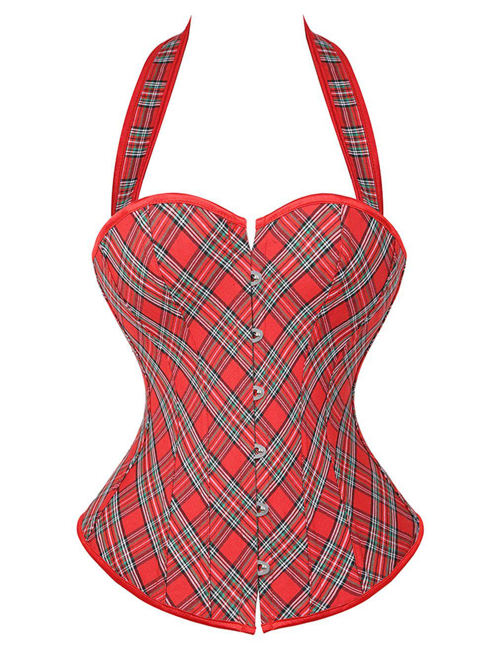 Halter Plaid Lace-up Boning Plus Size Overbust Corset Top - RED 3X