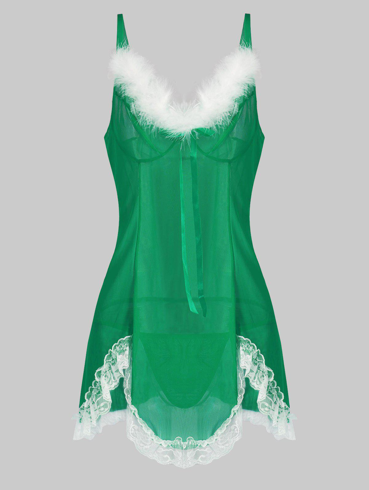 Christmas T Back Faux Fur Lace Panel Sheer Mesh Plus Size Babydoll - GREEN 1X