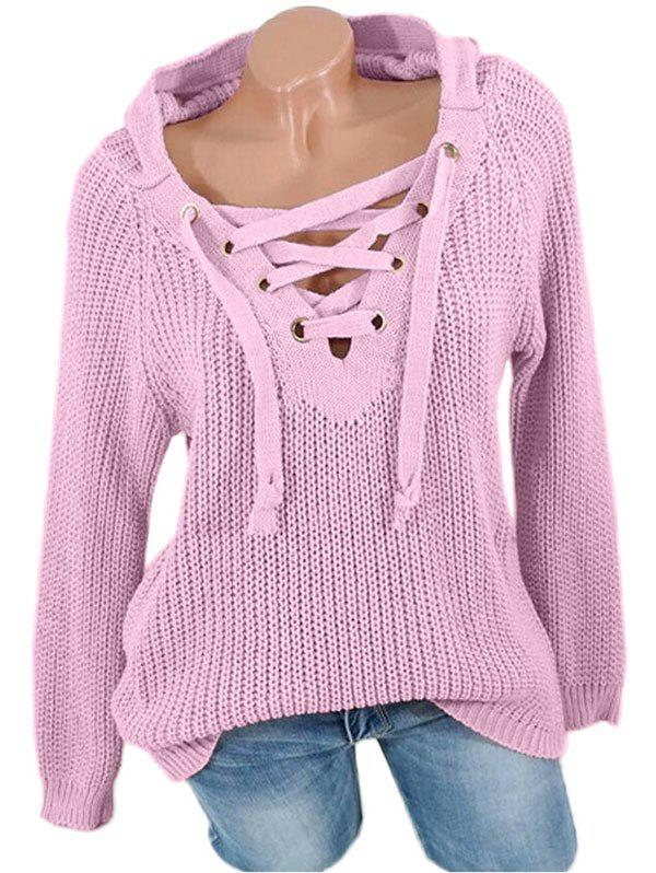 Lace Up Solid Hooded Sweater - PINK XL