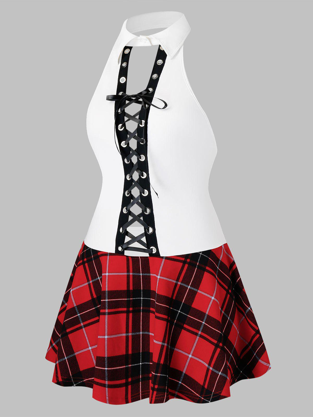 Plus Size Lace Up Plaid Schoolgirls Cosplay Lingerie Dress - CHESTNUT RED 2X