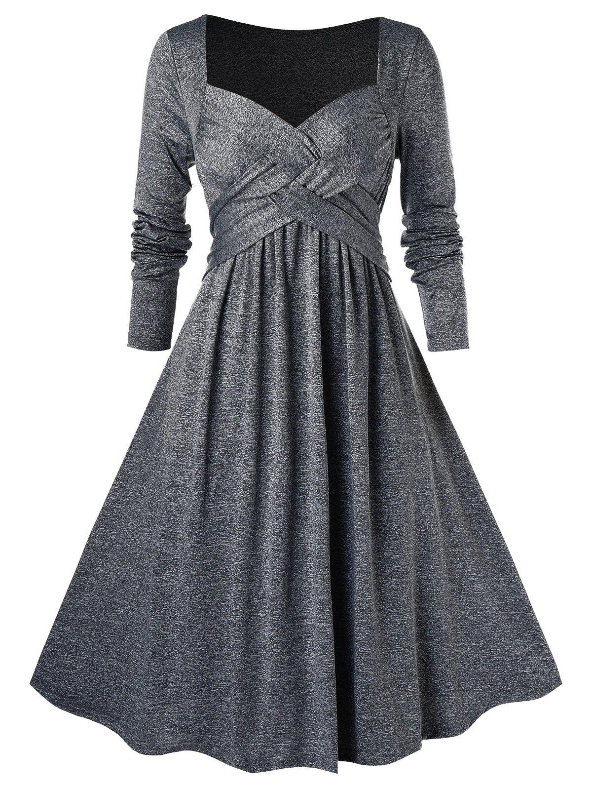 Plus Size Crossover Midi Flare Dress - GRAY CLOUD 3X