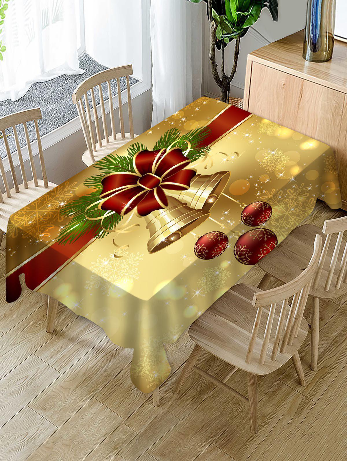 Christmas Bell Fabric Table Cloth - multicolor 55 X 55 INCH
