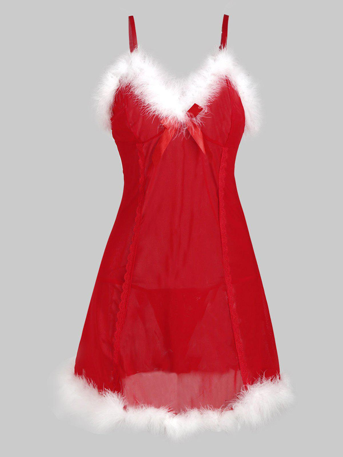 Faux Fur Sheer Mesh Christmas Hat T Back Plus Size Babydoll - RED L