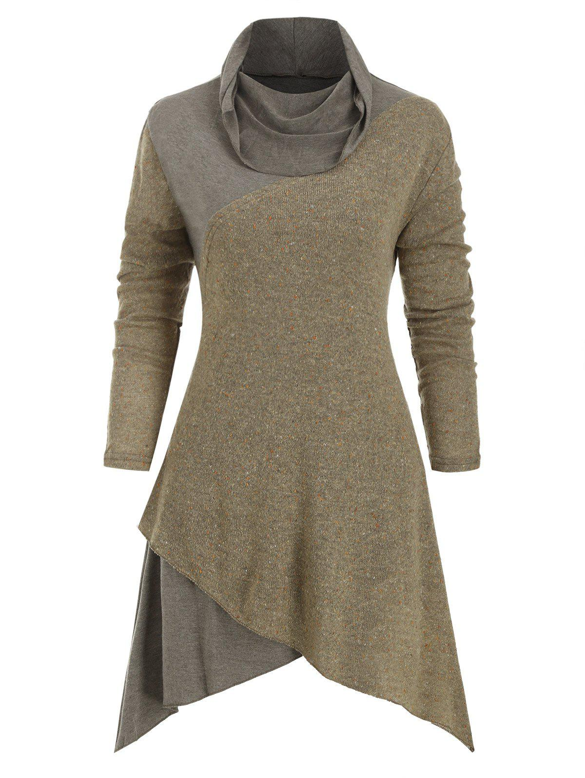 Cowl Neck Confetti Asymmetrical Sweater - KHAKI 2XL