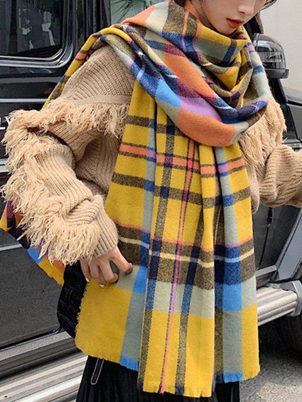 Plaid Pattern Faux Cashmere Long Scarf - BRIGHT YELLOW