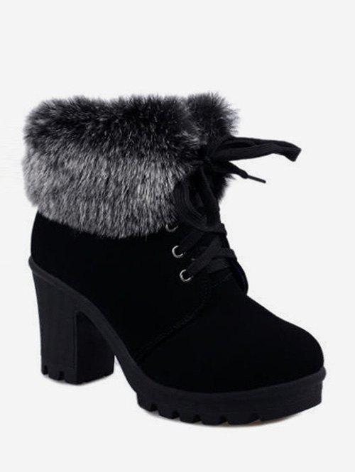Faux Fur Foldover Lace Up High Heel Boots - BLACK EU 37