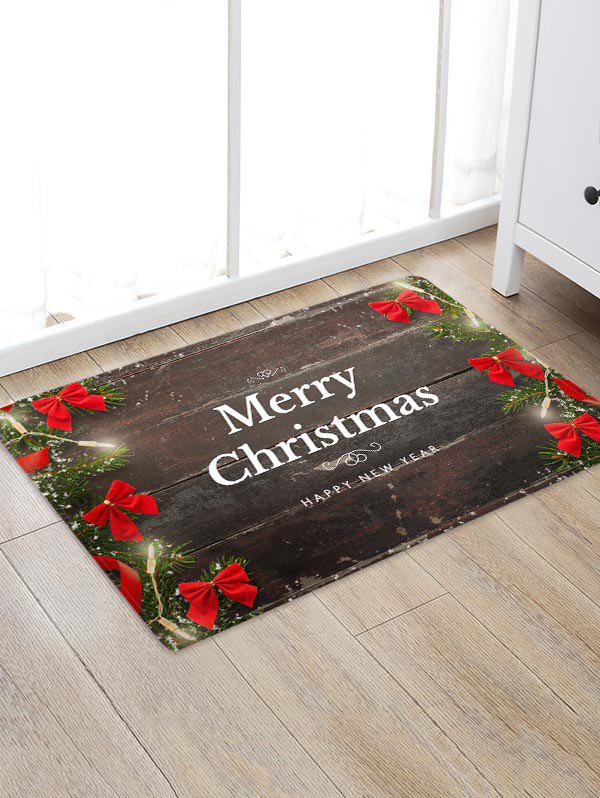 Christmas Greeting Bowknot Wood Board Pattern Water Absorption Area Rug - multicolor W24 X L35.5 INCH