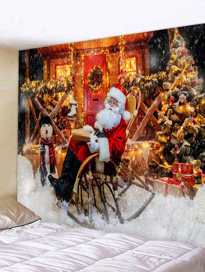 Father Christmas Tree Gift Printed Tapestry - CHOCOLATE W91 X L71 INCH