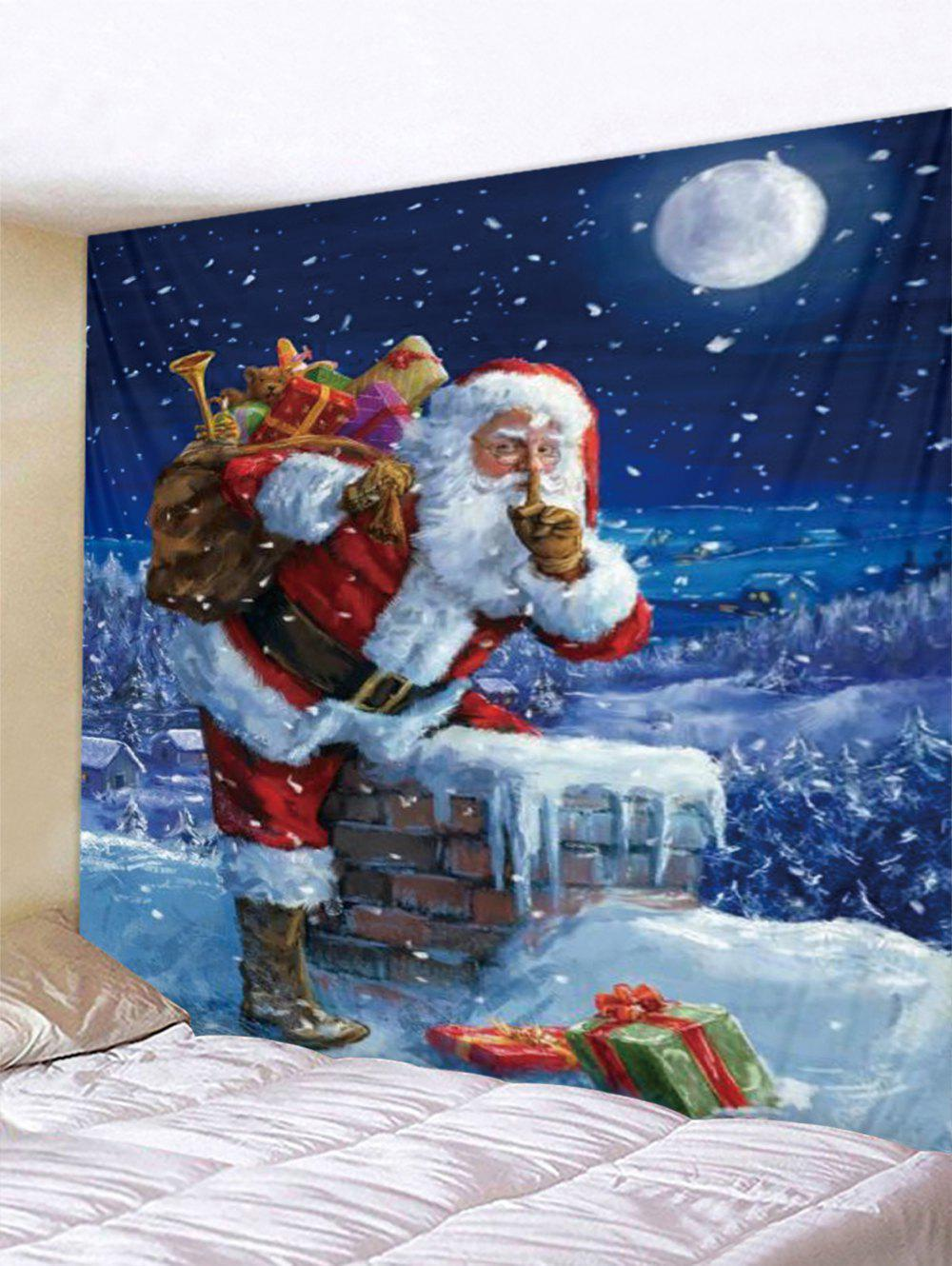Christmas Gift Santa Claus Printed Tapestry - multicolor W79 X L71 INCH
