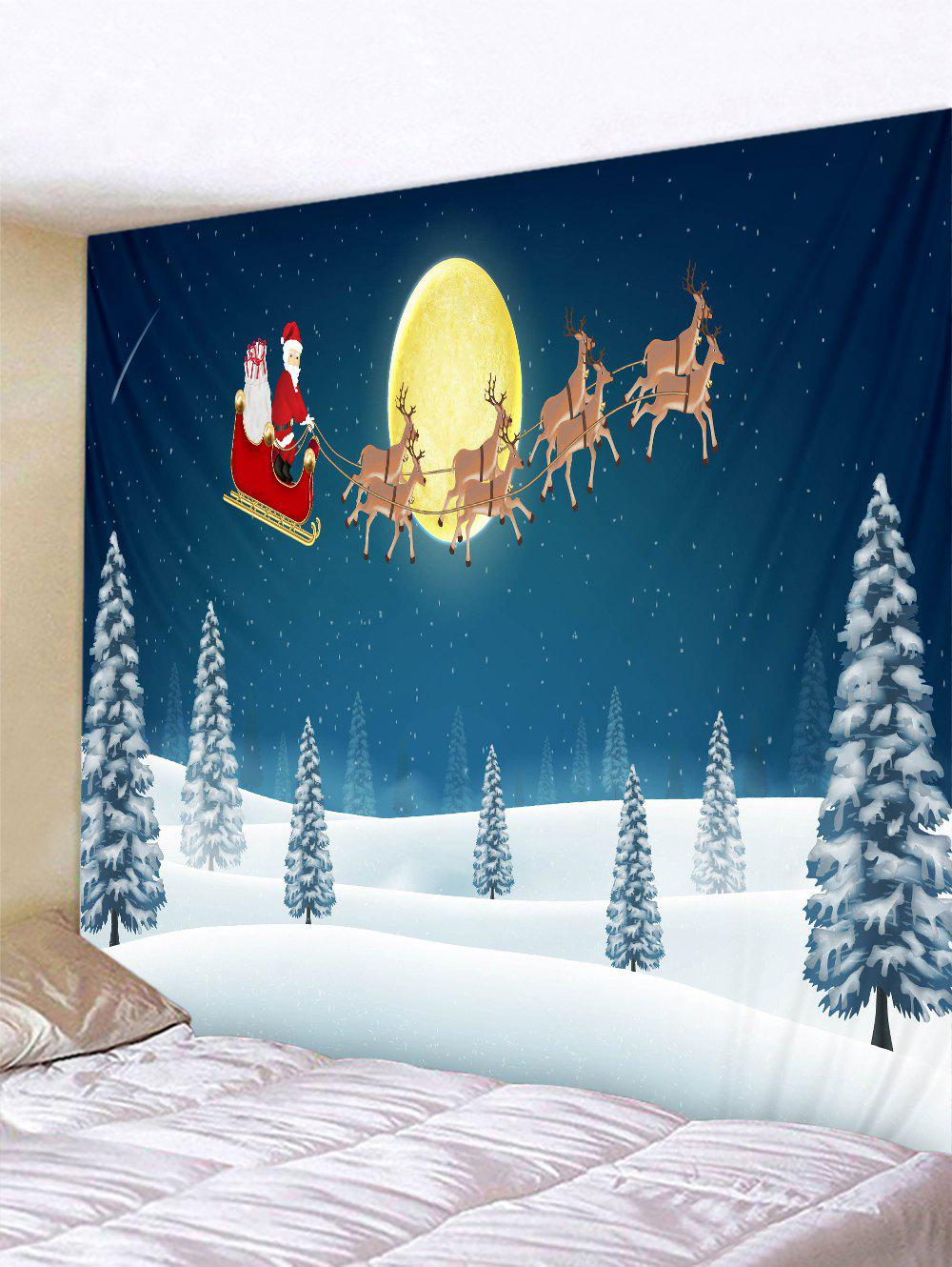 Father Christmas Snow Deer Printed Tapestry - multicolor W79 X L71 INCH
