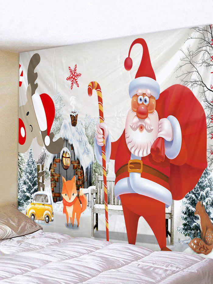Cartoon Father Christmas Deer Printed Tapestry - multicolor A W71 X L91 INCH