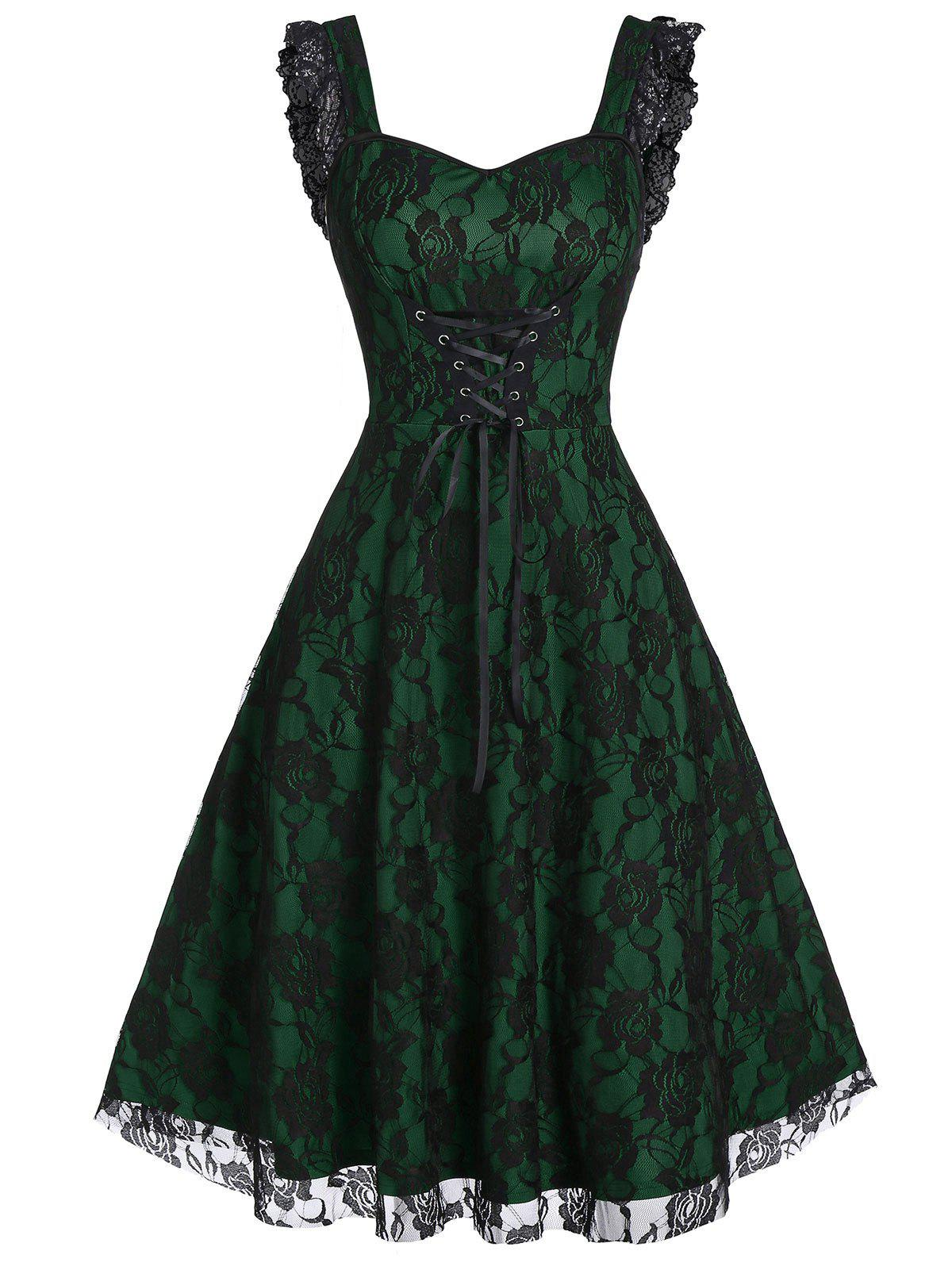 Lace-up A Line Sweetheart Collar Rose Lace Dress - MEDIUM SEA GREEN 2XL