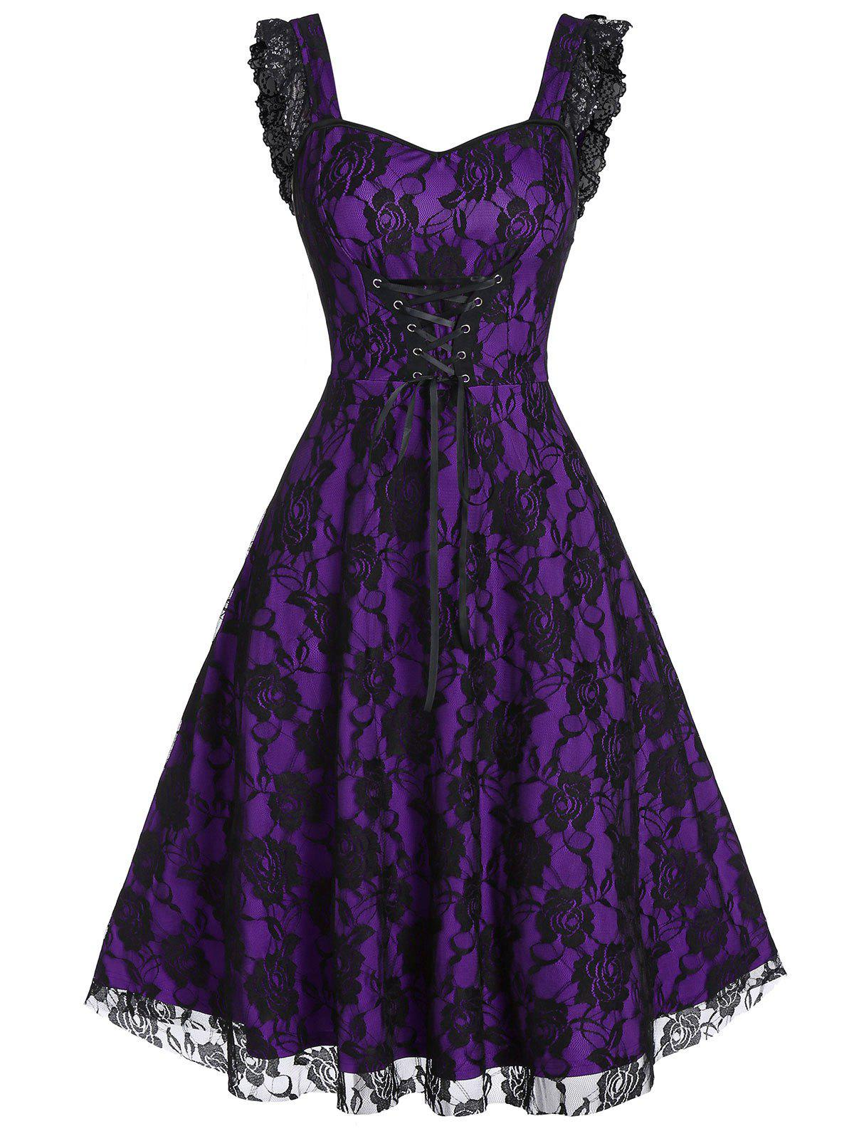 Lace-up A Line Sweetheart Collar Rose Lace Dress - EGGPLANT 2XL