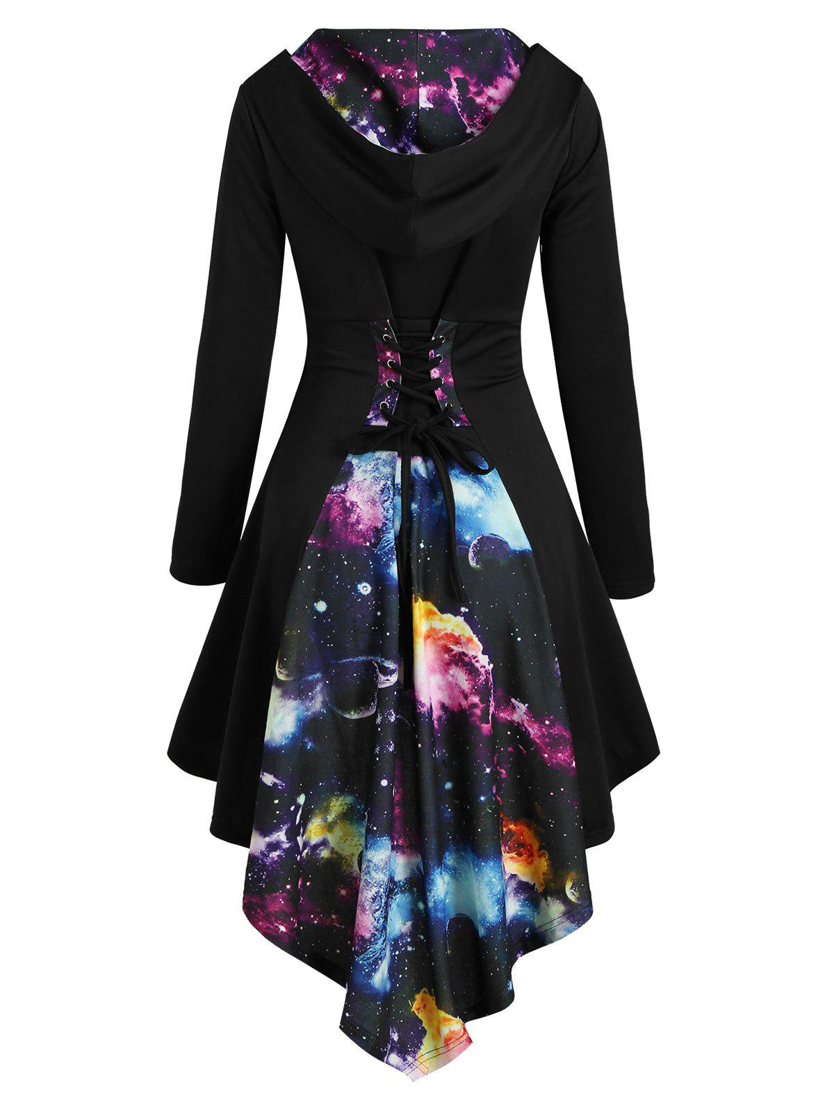 Hooded Lace Up Planet Print High Low Dress - BLACK L