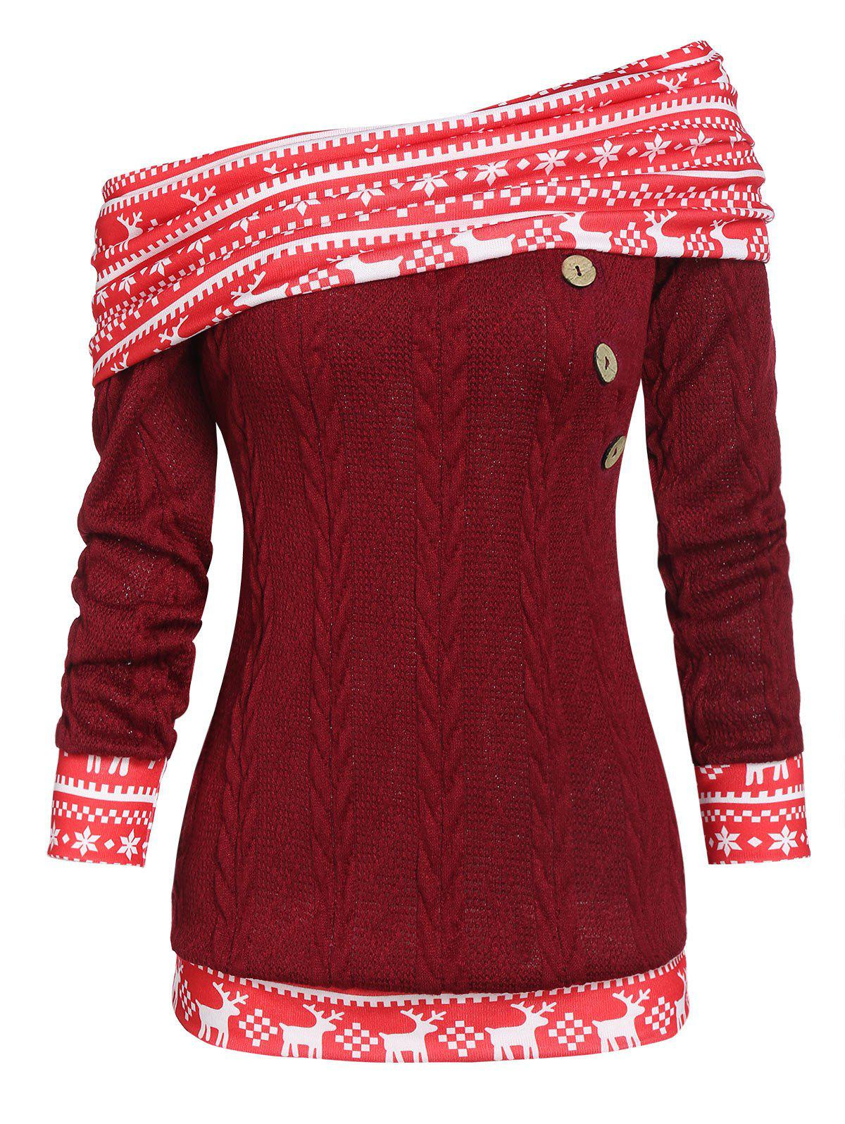 Christmas Elk Print Convertible Skew Neck Cable Knit Sweater - RED WINE XL