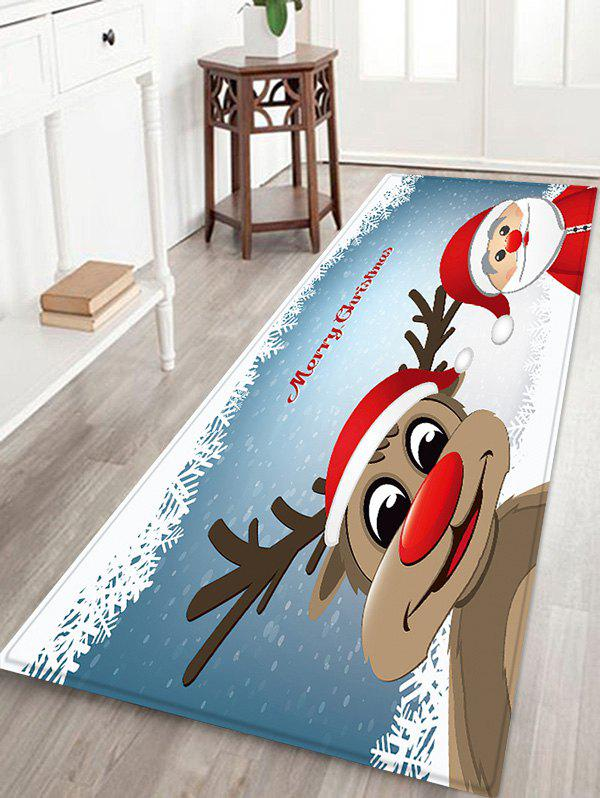 Christmas Cartoon Santa Claus Elk Pattern Water Absorption Area Rug - SILK BLUE W24 X L71 INCH