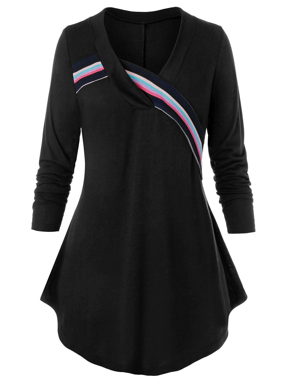 Plus Size Striped Knit Detail Long Sleeve Curved Tee - BLACK 5X