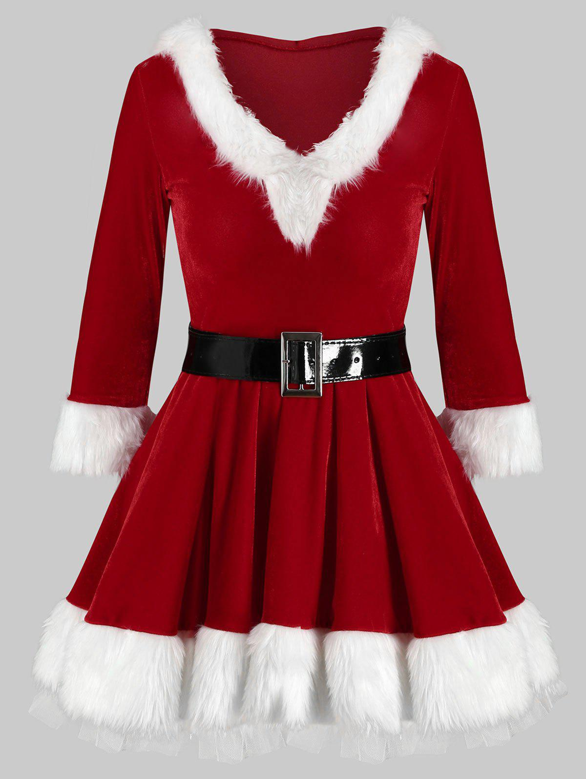 Belted Christmas Fluffy Hooded Velvet Dress - RED M
