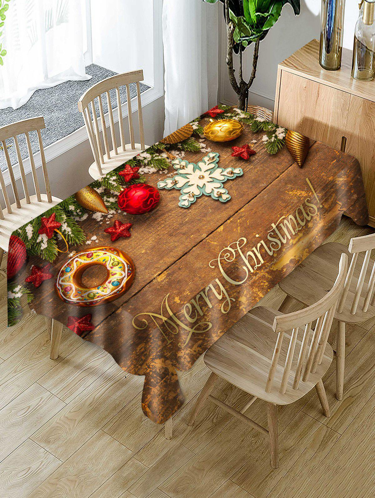 Merry Christmas Wooden Star Fabric Table Cloth - multicolor W55 X L71 INCH