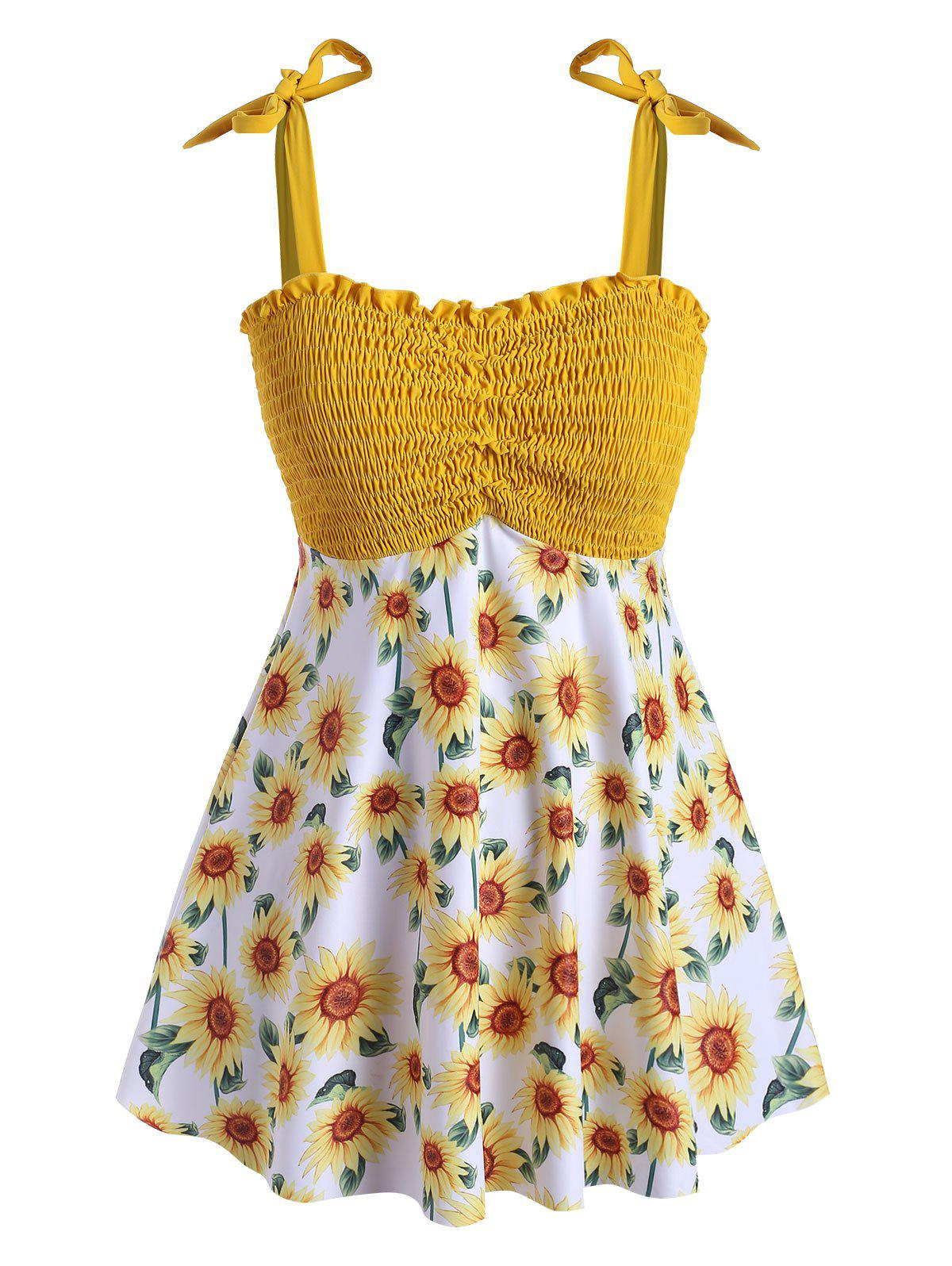 Plus Size Sunflower Print Smocked Tankini Swimsuit - BRIGHT YELLOW 5X