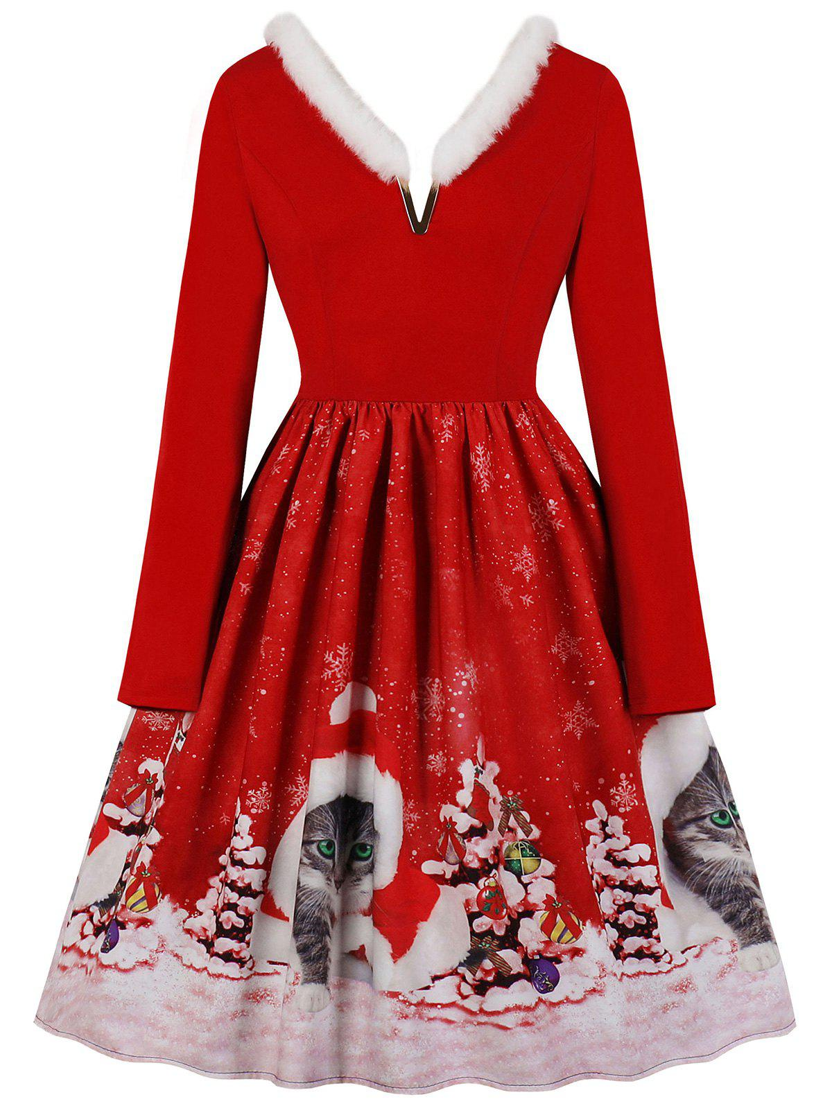Faux Fur Trim V-notch Christmas Cat Print Dress - RED S