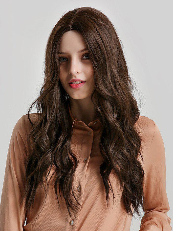 Curly Center Part Long Synthetic Wig - BROWN