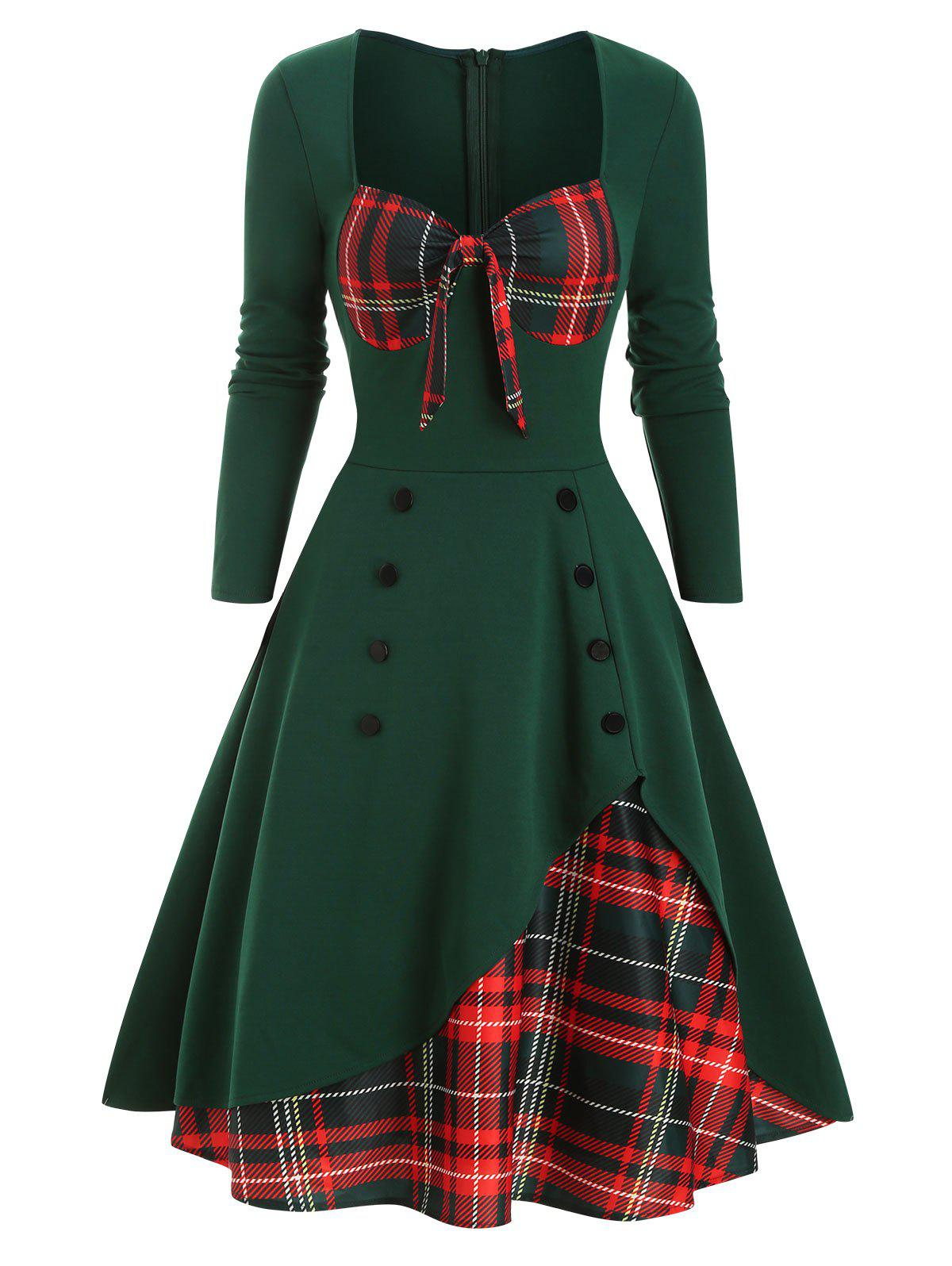 Plaid Button Embellished Overlap Bowknot Dress - DEEP GREEN S