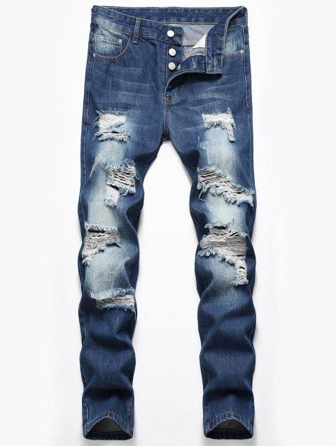 Destroyed Design Button Fly Casual Jeans