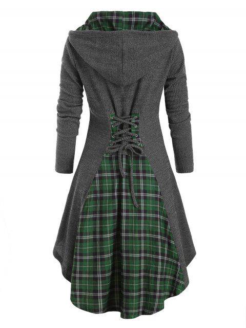 Plaid Horn Button Lace Up High Low Hooded Cardigan