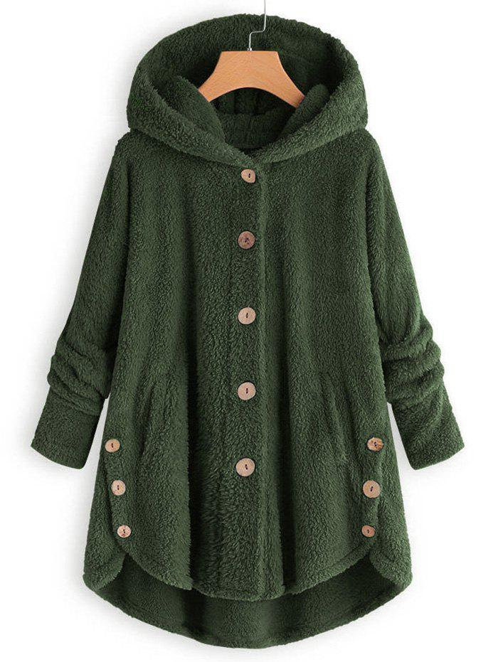 Hooded Faux Shearling Buttons Plus Size Coat - ARMY GREEN 1X