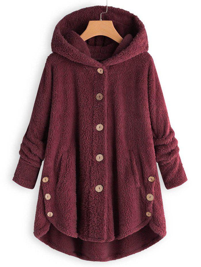 Hooded Faux Shearling Buttons Plus Size Coat - RED WINE 2X