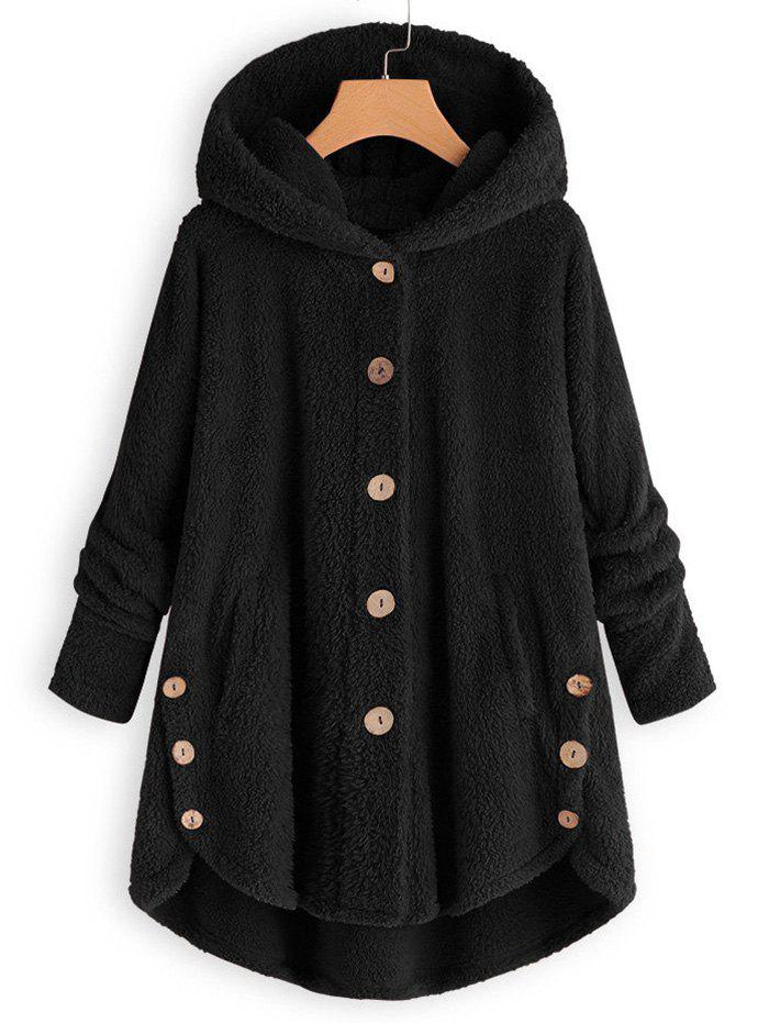 Hooded Faux Shearling Buttons Plus Size Coat - BLACK 5X